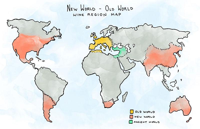 New World Vs Old World Wine Map