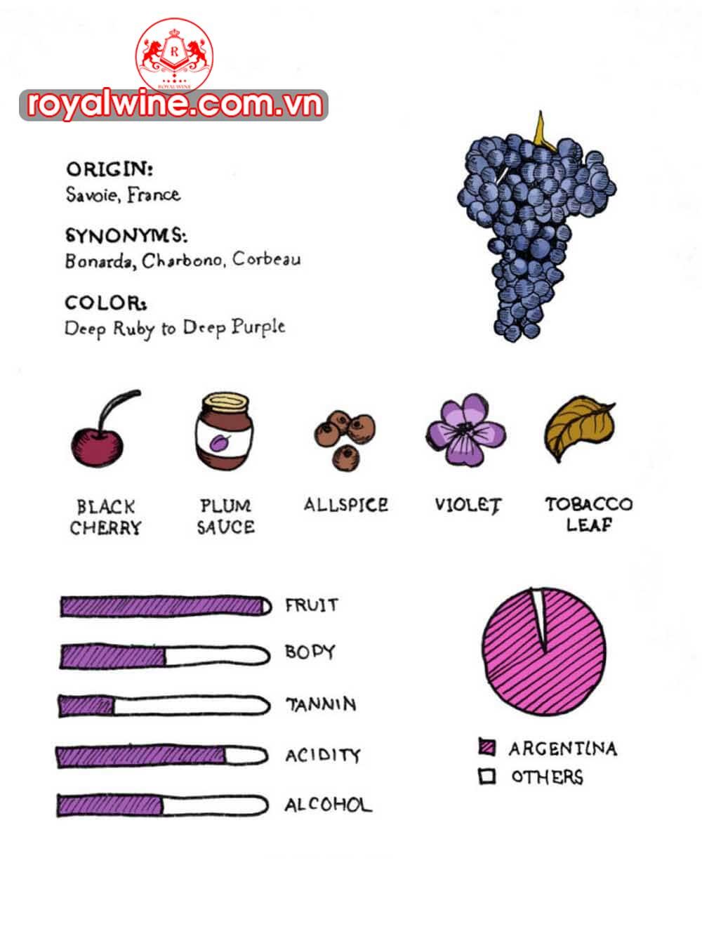 Mùi Vị Đặc Trưng Chủ Đạo Của Rượu Vang Nho Bonarda Argentina